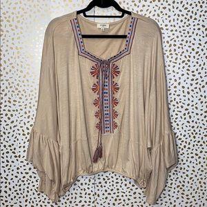 Umgee Embroidered Boho Peasant Blouse flare Sleeve